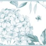 Cenefa decorativa floral |Flor grande pétalos azules
