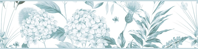 Cenefa decorativa floral |Flor grande pétalos azules-Floral