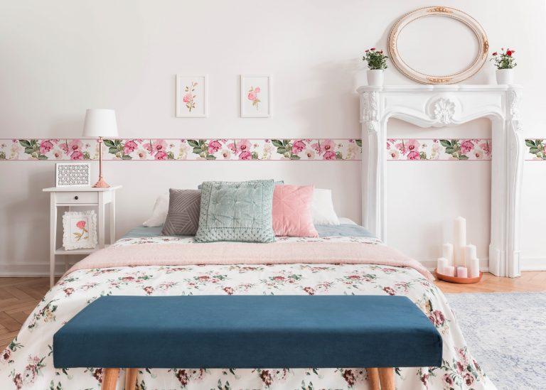 Cenefa decorativa floral |Flor y mariposa borde rosa-Floral