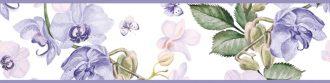 Cenefa decorativa floral |Flor y mariposa borde violeta-Floral