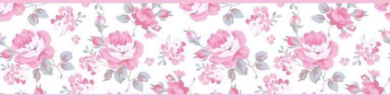 Cenefa decorativa floral |Flores pequeñas borde rosa-Floral