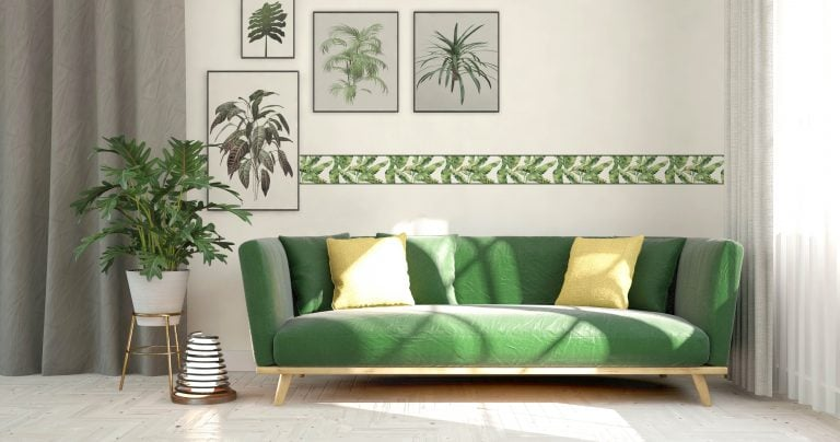 Cenefa decorativa floral |Hojas borde verde-Floral