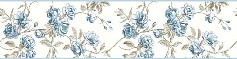Cenefa decorativa floral |Ramas borde azul-Floral