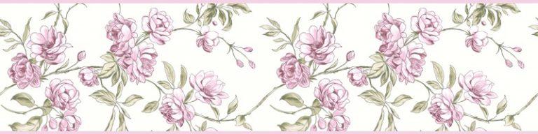 Cenefa decorativa floral |Ramas borde rosa-Floral