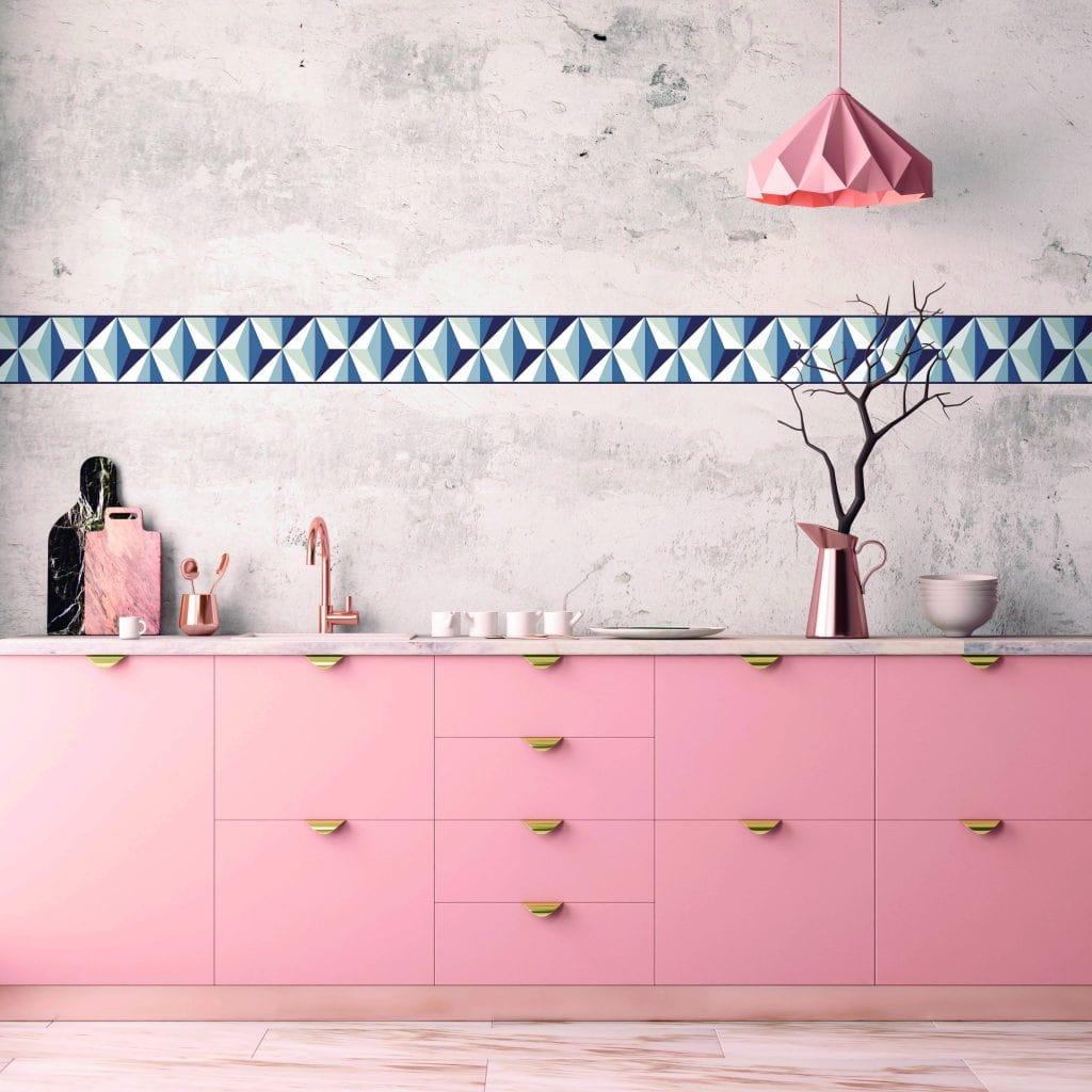 Cenefa decorativa geométrica |Prisma gris-Geométrico