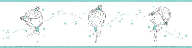 Cenefa decorativa infantil  Niña fondo azul-Infantil