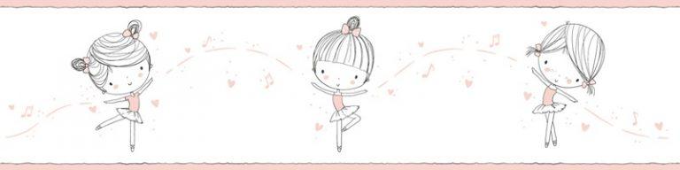 Cenefa decorativa infantil |Niña fondo rosa-Infantil