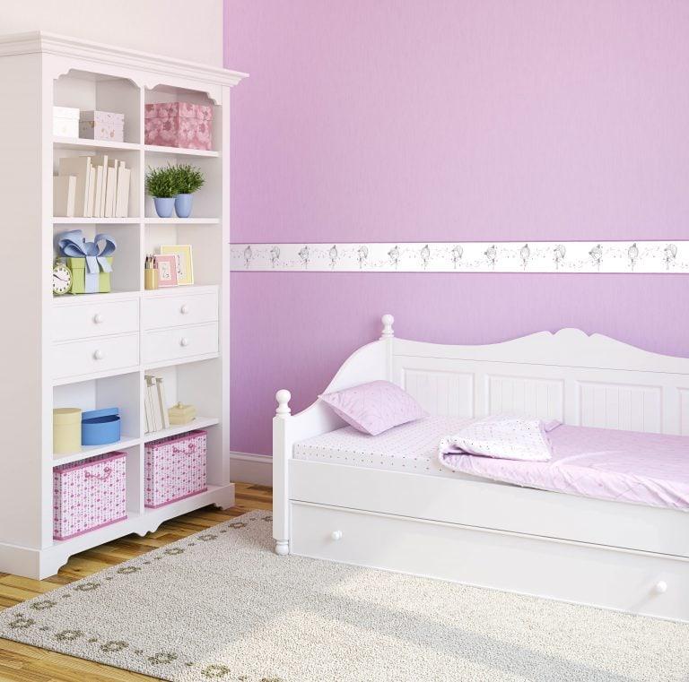 Cenefa decorativa infantil |Niña fondo violeta-Infantil
