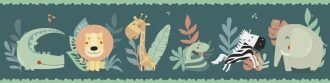 Cenefa decorativa infantil |Selva fondo oscuro-Infantil