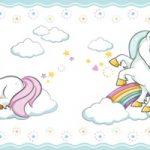 Cenefa decorativa infantil |Unicornios borde azul