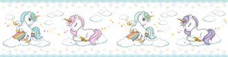Cenefa decorativa infantil |Unicornios borde azul-Infantil