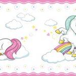 Cenefa decorativa infantil |Unicornios borde rosa