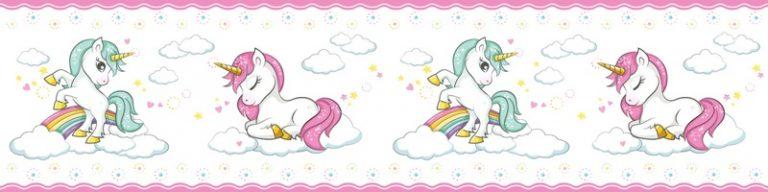 Cenefa decorativa infantil |Unicornios borde rosa-Infantil