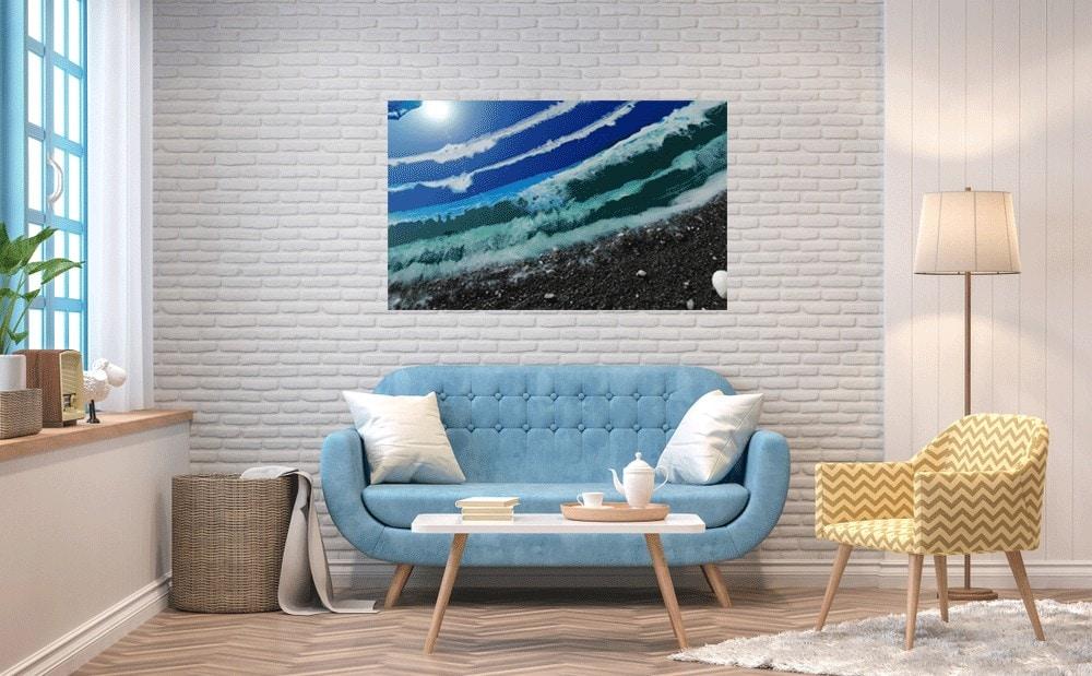 Cuadro de resina Epoxi (85x50 cm.)| Playa Mediterránea.-Arte con resina