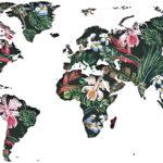 Vinilo Mapa del Mundo Floral