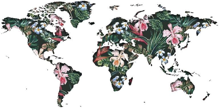 Ambadecor | Vinilos | Fotomurales | Vinilo Mapa del Mundo Floral-Vinilo monomérico