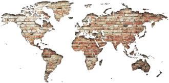 Ambadecor | Vinilos | Fotomurales | Vinilo Mapa del Mundo en Ladrillo-Vinilo monomérico
