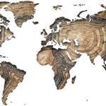 Vinilo Mapa del Mundo en Madera
