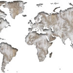 Vinilo Mapa del Mundo en Madera Rasgada