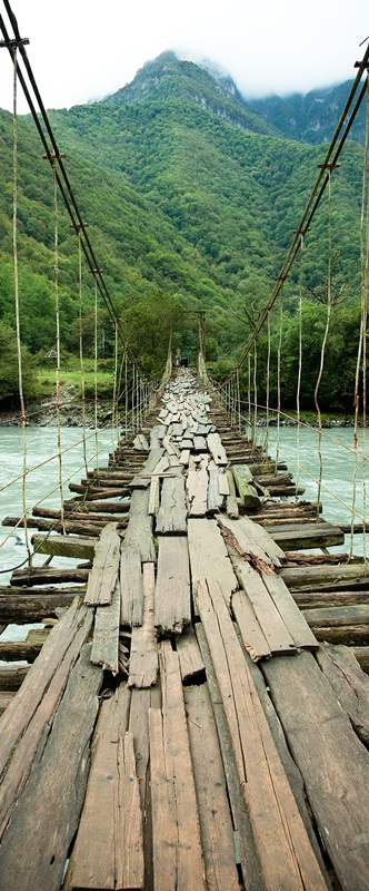 Ambadecor | Vinilos | Fotomurales | Vinilo para Puertas Puente de Madera-Vinilo monomérico autoadhesivo