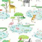 Papel Infantil con animales y fondo blanco