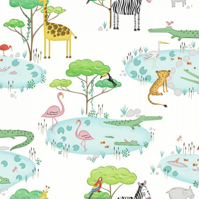 Papel Infantil con animales y fondo blanco-10