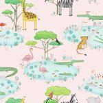 Papel Infantil con animales y fondo rosa