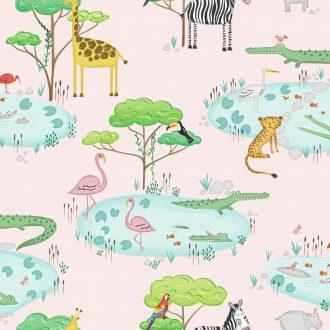 Papel Infantil con animales y fondo rosa-10