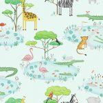 Papel Infantil con animales y fondo verde