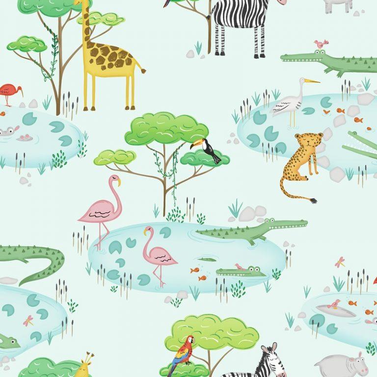 Papel Infantil con animales y fondo verde-10