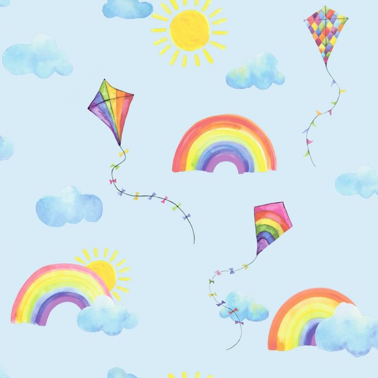 Papel Infantil con cometas y arcoiris fondo azul-10