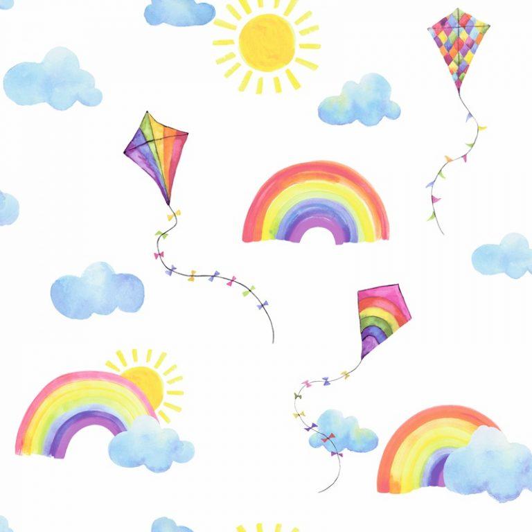 Papel Infantil con cometas y arcoiris fondo blanco-10
