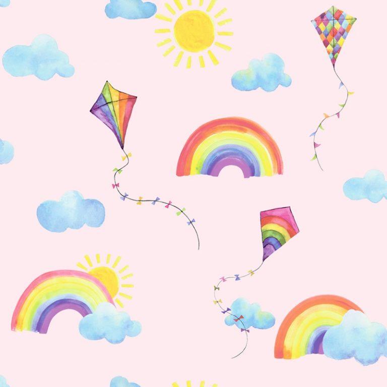 Papel Infantil con cometas y arcoiris fondo rosa-10