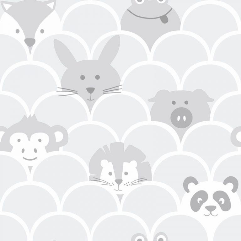 Papel Infantil con dibujos de animales en gris-10