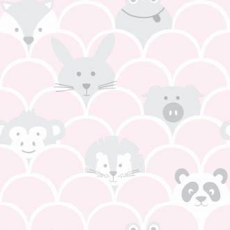 Papel Infantil con dibujos de animales en rosa-10