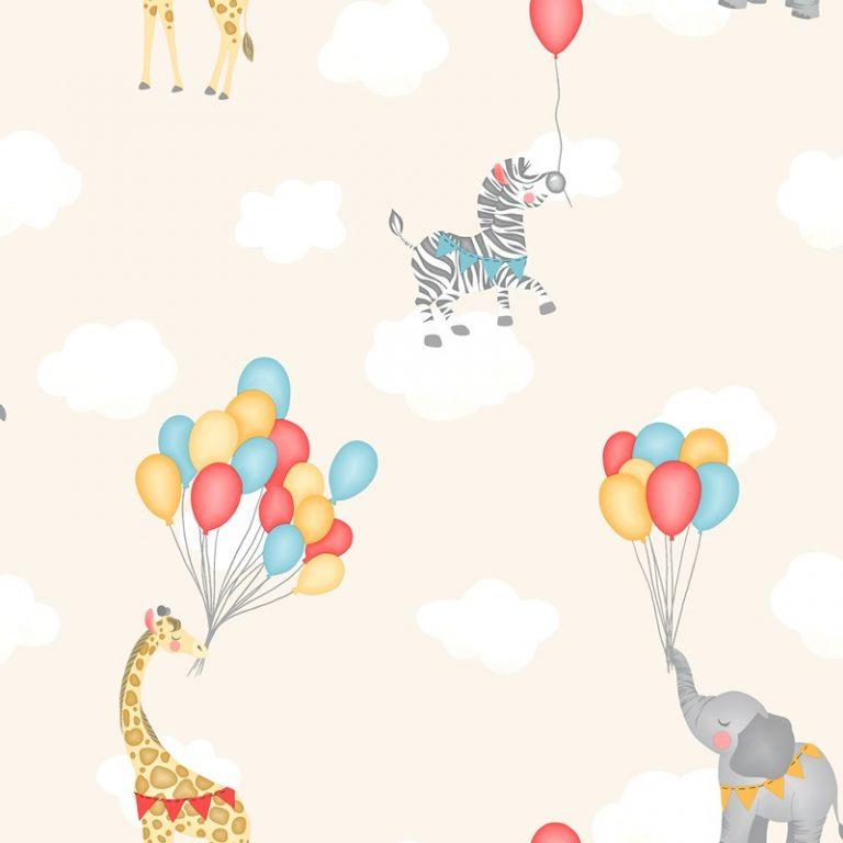 Papel Infantil con dibujos de animales y globos en amarillo-10