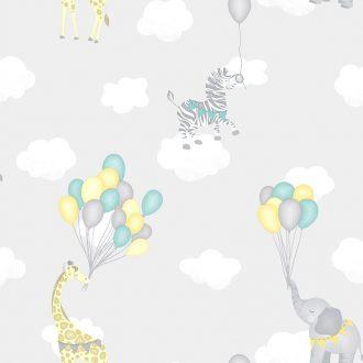 Papel Infantil con dibujos de animales y globos en gris-10