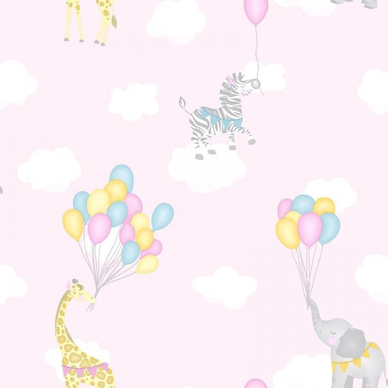 Papel Infantil con dibujos de animales y globos en rosa-10