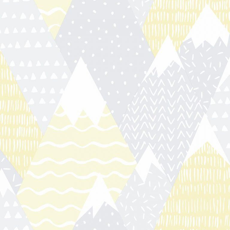 Papel Infantil con dibujos de montañas en amarillo-10