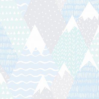 Papel Infantil con dibujos de montañas en azul-10