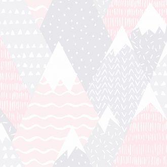 Papel Infantil con dibujos de montañas en rosa-10