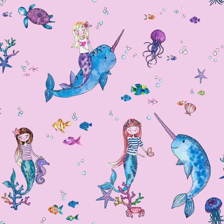 Papel Infantil con dibujos de sirenas y fondo azul-10