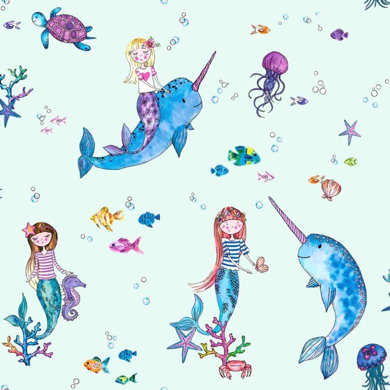 Papel Infantil con dibujos de sirenas y fondo rosa-10