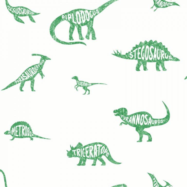 Papel Infantil con dinosaurios en tonos verdes-10