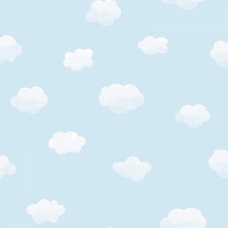 Papel Infantil con nubles y fondo azul-10