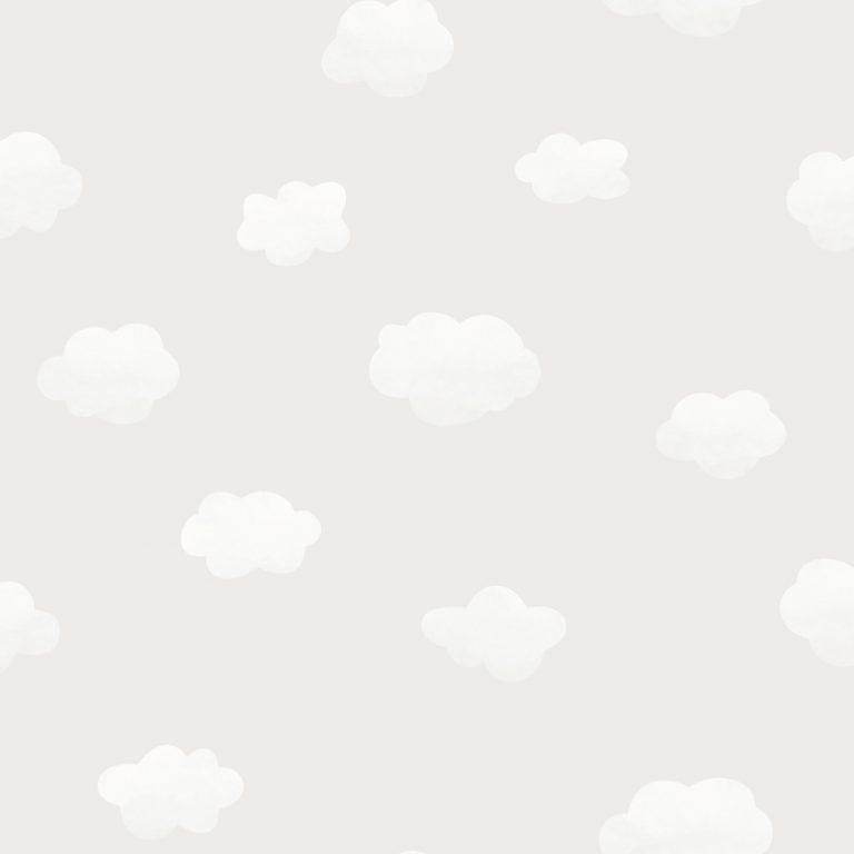 Papel Infantil con nubles y fondo gris-10
