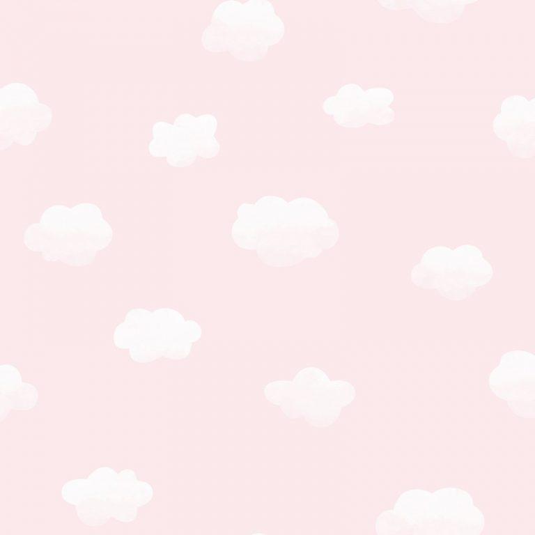 Papel Infantil con nubles y fondo rosa-10