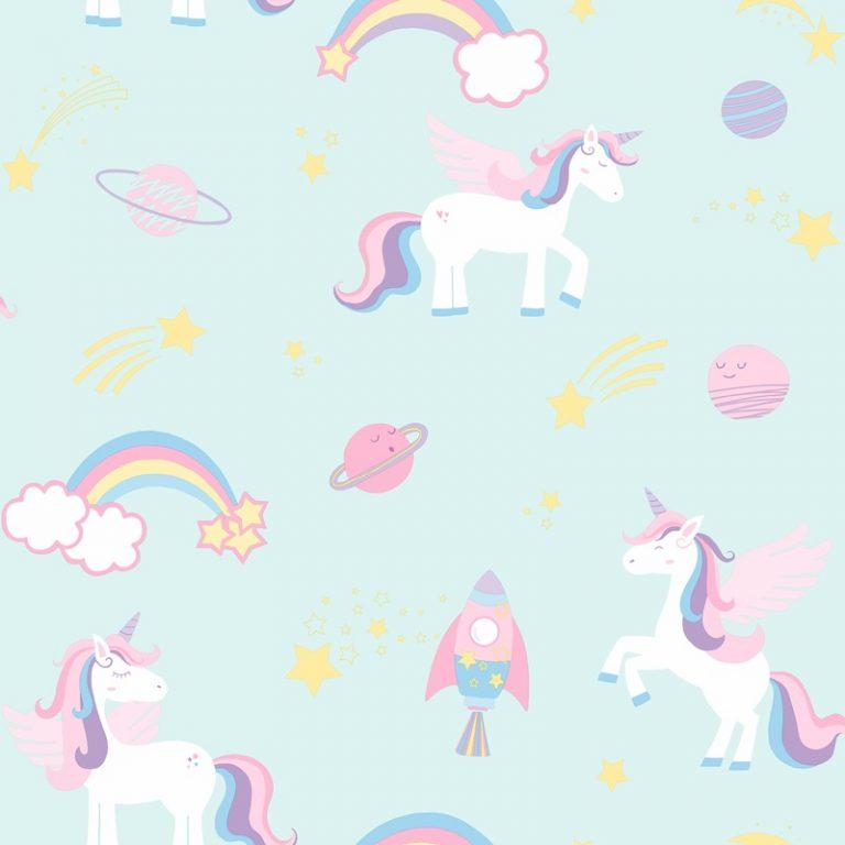 Papel Infantil con unicornios en fondo azul-10