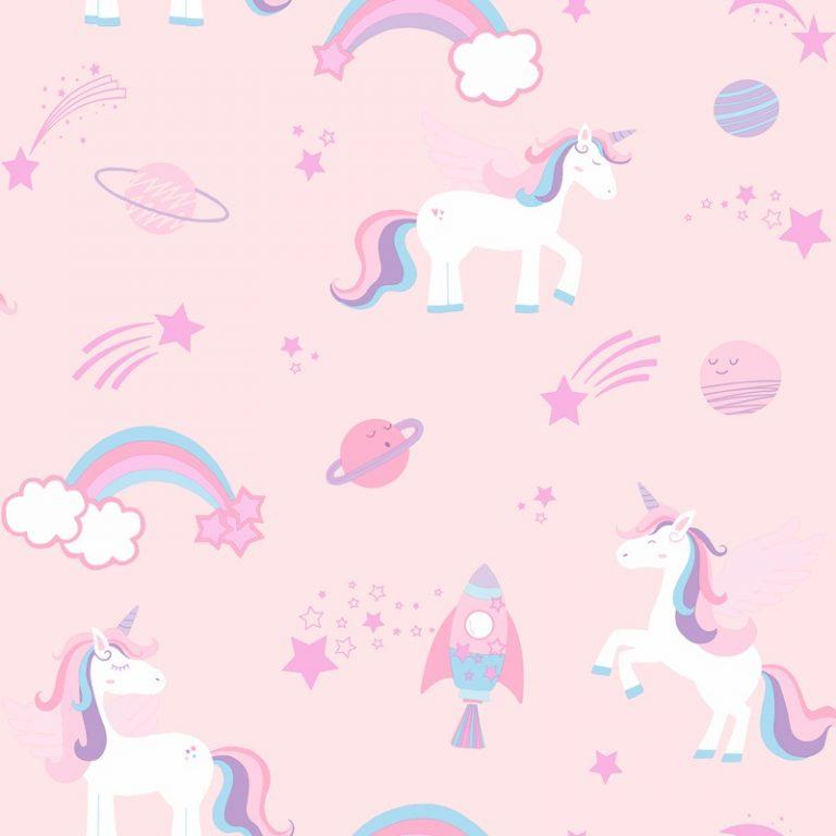 Papel Infantil con unicornios en fondo gris-10