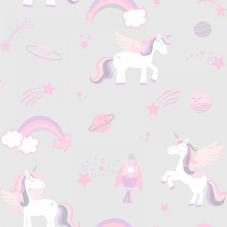 Papel Infantil con unicornios en fondo rosa-10